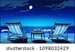 two chaise lounges  glasses of... | Shutterstock .eps vector #1098032429