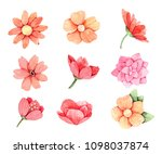 hand drawn watercolor... | Shutterstock . vector #1098037874