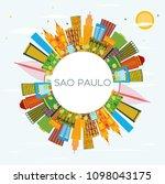 sao paulo brazil city skyline... | Shutterstock .eps vector #1098043175