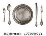 vintage metal antique plate ... | Shutterstock . vector #1098049391
