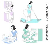 collection. the girl removes... | Shutterstock .eps vector #1098057374