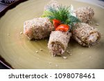 russian snack fried and stuffed ... | Shutterstock . vector #1098078461