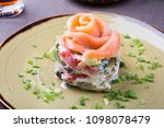 salted salmon salad served with ... | Shutterstock . vector #1098078479