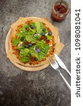 low carb sweet potato pizza... | Shutterstock . vector #1098081041