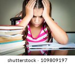 angry and tired schoolgirl... | Shutterstock . vector #109809197