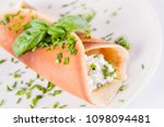 pancake with cottage cheese and ... | Shutterstock . vector #1098094481