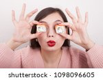 funny picture of woman holding... | Shutterstock . vector #1098096605