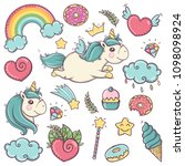 cute soft unicorns set of... | Shutterstock .eps vector #1098098924