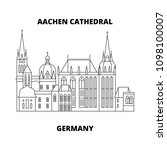 aachen cathedral  germany line... | Shutterstock .eps vector #1098100007