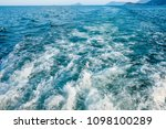 wave trace with white foam on... | Shutterstock . vector #1098100289