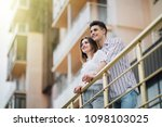 romantic happy couple relax and ... | Shutterstock . vector #1098103025