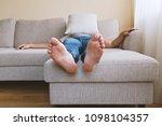 faceless adult tired man in... | Shutterstock . vector #1098104357