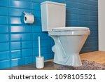white toilet bowl closeup in... | Shutterstock . vector #1098105521