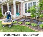 man unloading bags of mulch... | Shutterstock . vector #1098106034