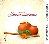 happy krishna janmashtami... | Shutterstock .eps vector #1098110051