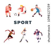 six types of sport. boxing... | Shutterstock .eps vector #1098127259