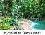 thanawan waterfall beautiful... | Shutterstock . vector #1098135554