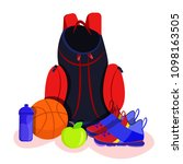 sport backpack with shoes ... | Shutterstock .eps vector #1098163505