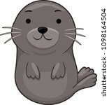 illustration of a seal sitting... | Shutterstock .eps vector #1098164504
