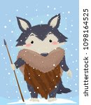 illustration of a wolf mascot... | Shutterstock .eps vector #1098164525
