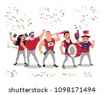 cheerful south korea football... | Shutterstock .eps vector #1098171494