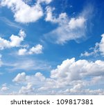 Blue Sky Background With White...