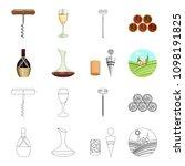 a bottle of wine in a basket  a ... | Shutterstock .eps vector #1098191825