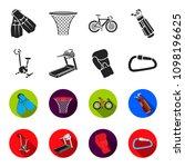 exercise bike  treadmill  glove ... | Shutterstock .eps vector #1098196625