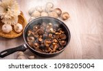 shiitake mushroom fried with...   Shutterstock . vector #1098205004