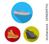 a variety of shoes flat icons...   Shutterstock .eps vector #1098209741