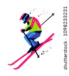 silhouette of a skier jumping... | Shutterstock .eps vector #1098233231