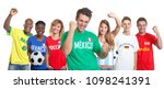 Cheering mexican soccer supporter with fans from other countries on isolated white background for cut out - Translation: France, Brazil, Mexico, Russia, Germany, Spain