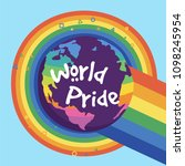 world pride earth rainbow... | Shutterstock .eps vector #1098245954