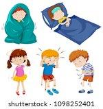 a set of sick kids illustration | Shutterstock .eps vector #1098252401