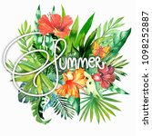 summer card with palm leaves... | Shutterstock . vector #1098252887