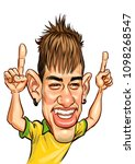 neymar jr template caricature... | Shutterstock .eps vector #1098268547