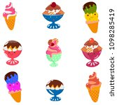 set of colored ice cream icons... | Shutterstock . vector #1098285419