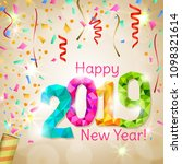 happy new year 2019 greeting...   Shutterstock .eps vector #1098321614