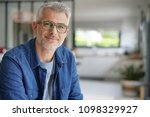 middle aged guy with eyeglasses ... | Shutterstock . vector #1098329927