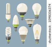 incandescent bulbs  halogen and ... | Shutterstock . vector #1098336374