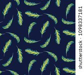palm leaves navy blue seamless... | Shutterstock .eps vector #1098337181
