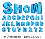 neon light alphabet 3d... | Shutterstock . vector #1098337217