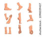 human foot in various positions ... | Shutterstock .eps vector #1098339437