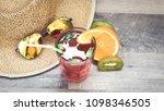 summer holiday cocktail glass | Shutterstock . vector #1098346505