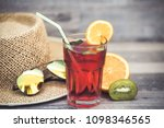 summer holiday cocktail glass | Shutterstock . vector #1098346565