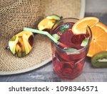 summer holiday cocktail glass | Shutterstock . vector #1098346571