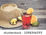 summer holiday cocktail glass | Shutterstock . vector #1098346595