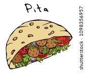 falafel pita or meatball salad... | Shutterstock .eps vector #1098356957