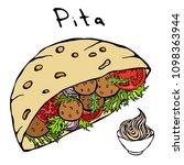 falafel pita or meatball salad... | Shutterstock .eps vector #1098363944