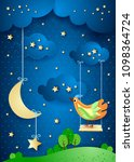 surreal night with moon  swing... | Shutterstock .eps vector #1098364724